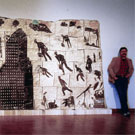 Pillars of Enterprise, Fired Clay, Slips & Cut Paper Stencils, 1987, 84x160inch