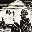 Salubrious, Woodcut Print, 1986, 16x23inch