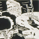 I Like to Be Abroad These Moonlit Nights in My Studebaker, Woodcut Print, 1986, 22x27inch