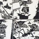 The Bug Paints a Picture, Woodcut Print, 1986, 22x26inch